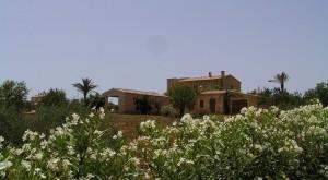Blick von der Zufahrt aus auf Haupthaus, Gästehaus und Poolhaus (klick zum vergr.)